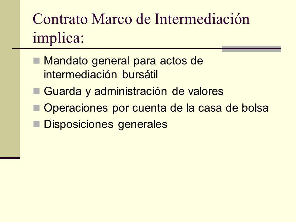 Contrato Marco de Intermediación implica: