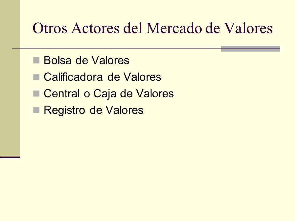 Otros Actores del Mercado de Valores