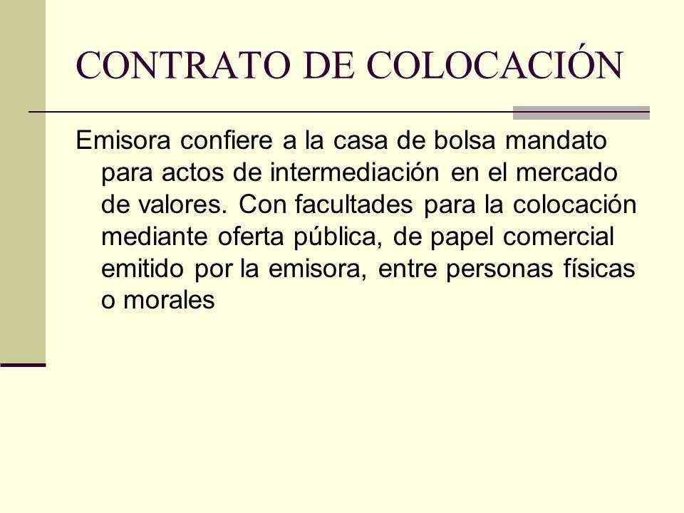 CONTRATO DE COLOCACIÓN