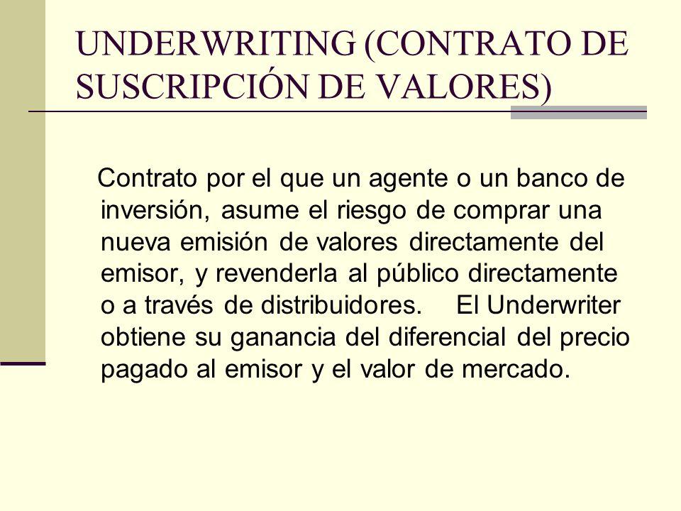 UNDERWRITING (CONTRATO DE SUSCRIPCIÓN DE VALORES)