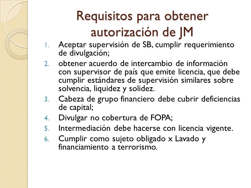 Requisitos para obtener autorización de JM