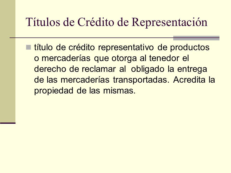 Títulos de Crédito de Representación