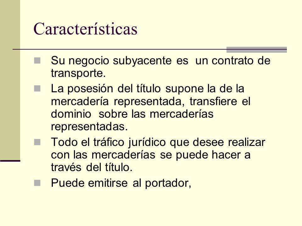 Características Su negocio subyacente es un contrato de transporte.