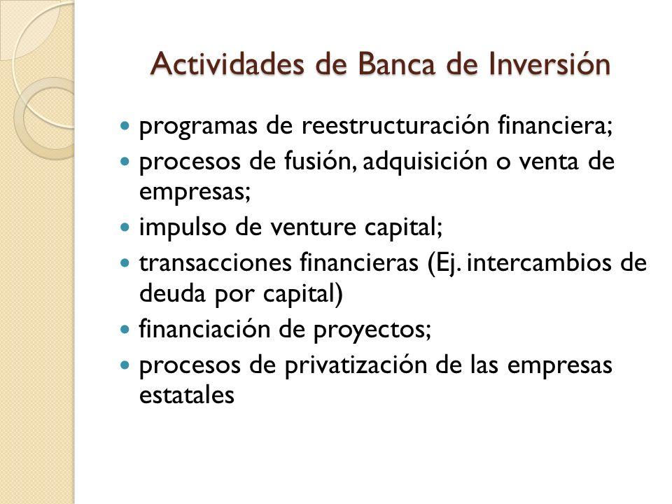 Actividades de Banca de Inversión