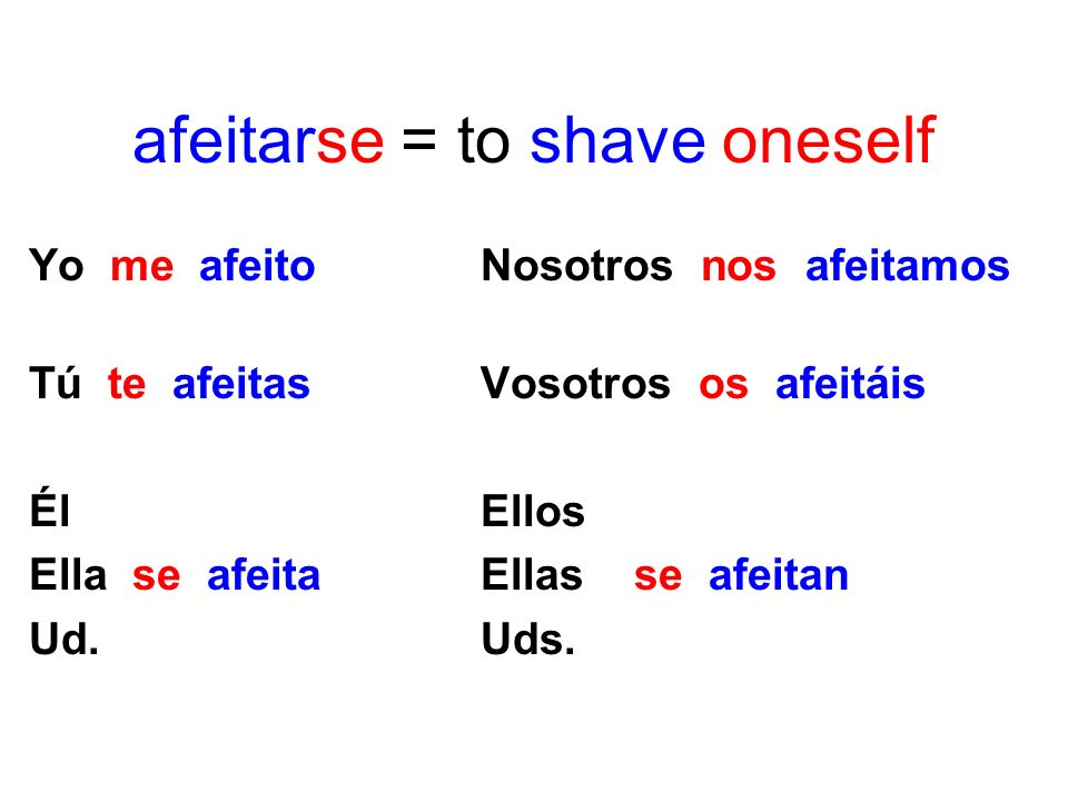 afeitarse = to shave oneself