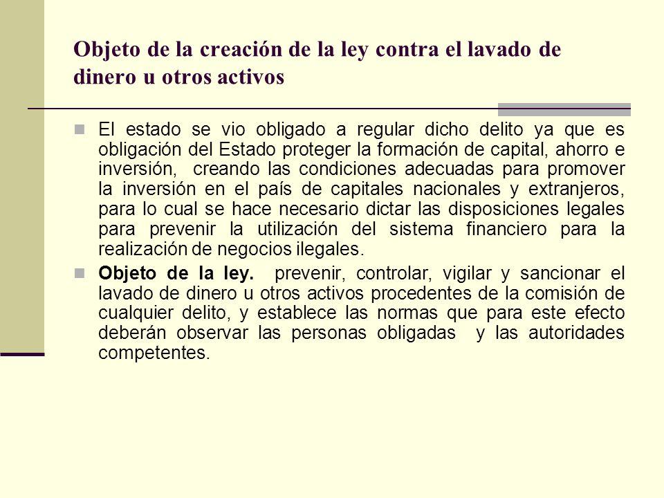 Objeto de la creación de la ley contra el lavado de dinero u otros activos