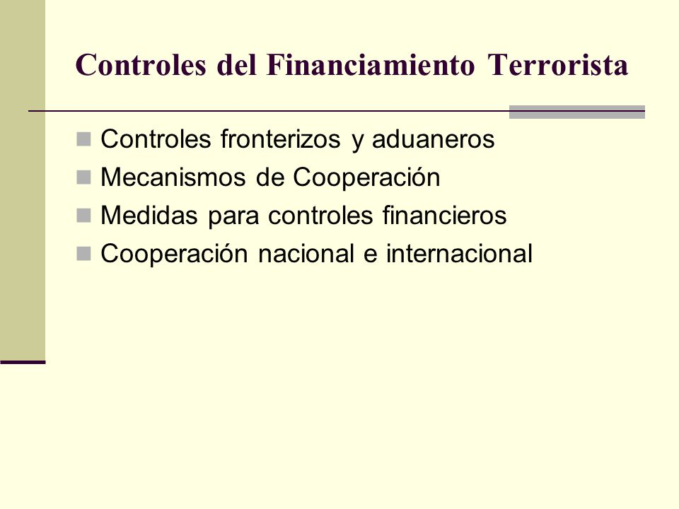 Controles del Financiamiento Terrorista