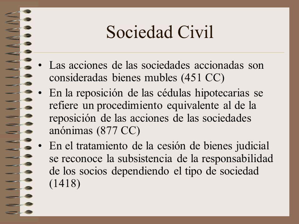 Sociedad Civil Las acciones de las sociedades accionadas son consideradas bienes mubles (451 CC)