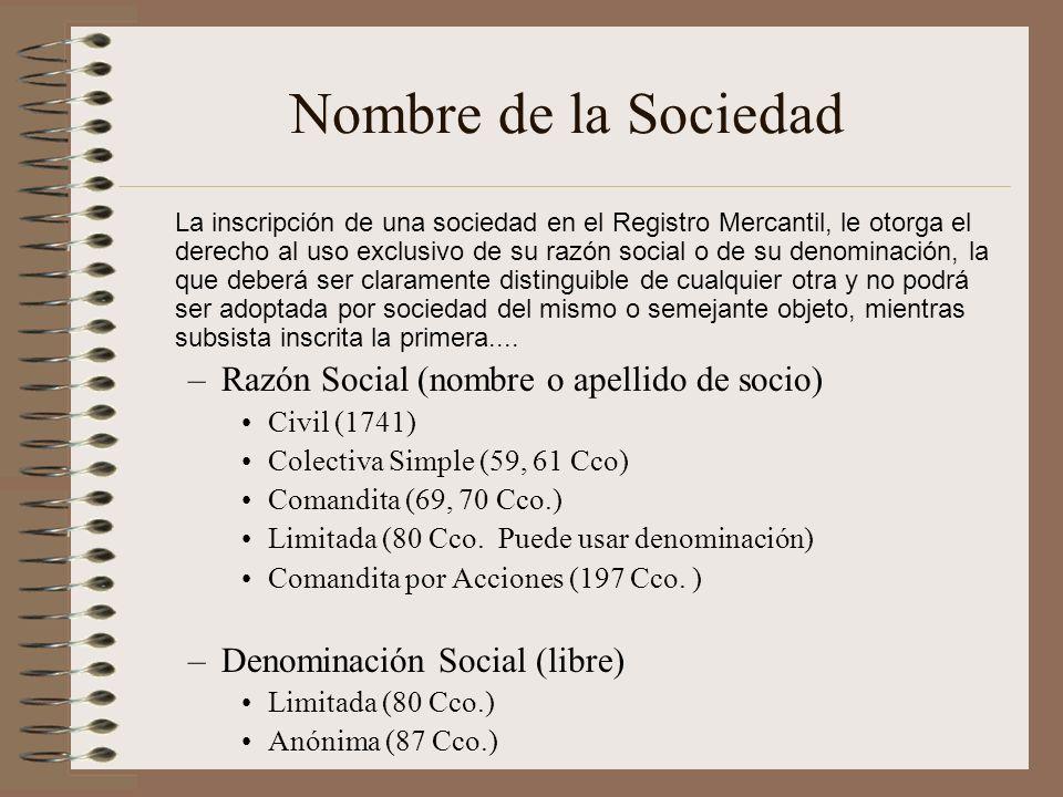 Nombre de la Sociedad Razón Social (nombre o apellido de socio)