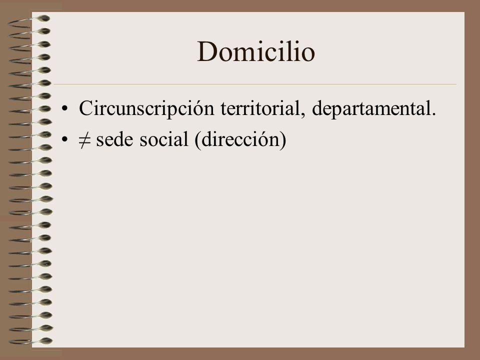 Domicilio Circunscripción territorial, departamental.