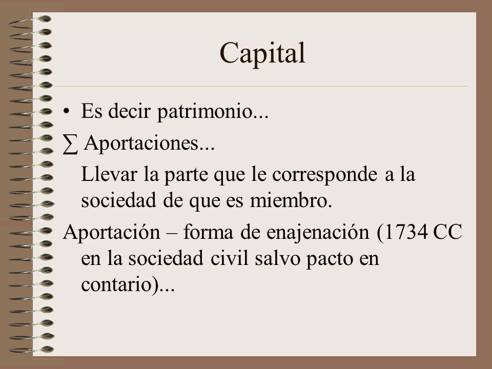 Capital Es decir patrimonio... ∑ Aportaciones...