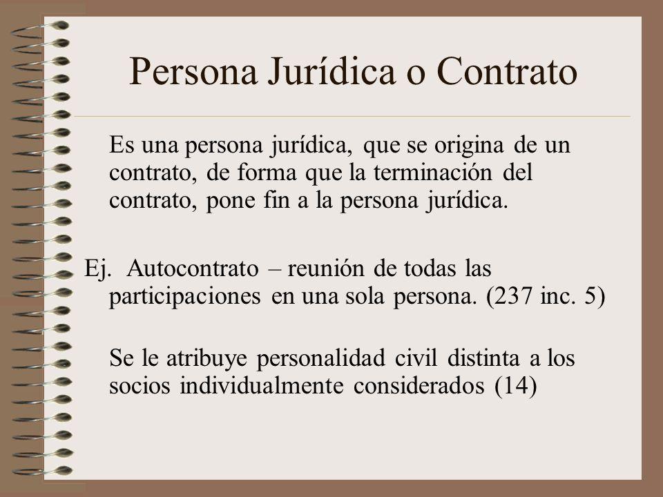 Persona Jurídica o Contrato