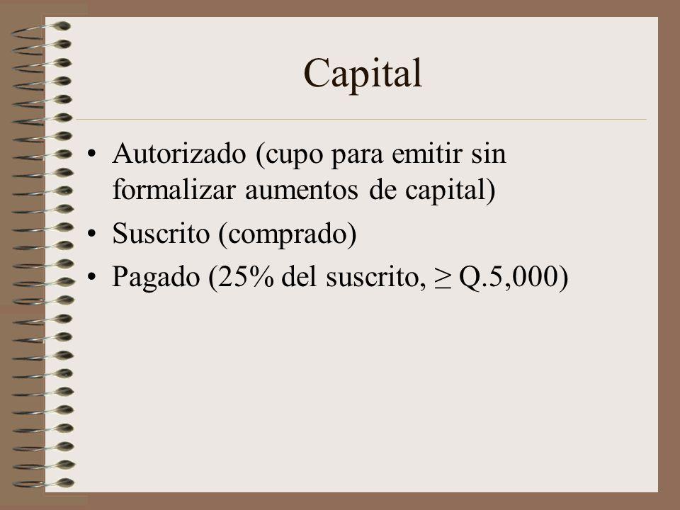Capital Autorizado (cupo para emitir sin formalizar aumentos de capital) Suscrito (comprado) Pagado (25% del suscrito, ≥ Q.5,000)