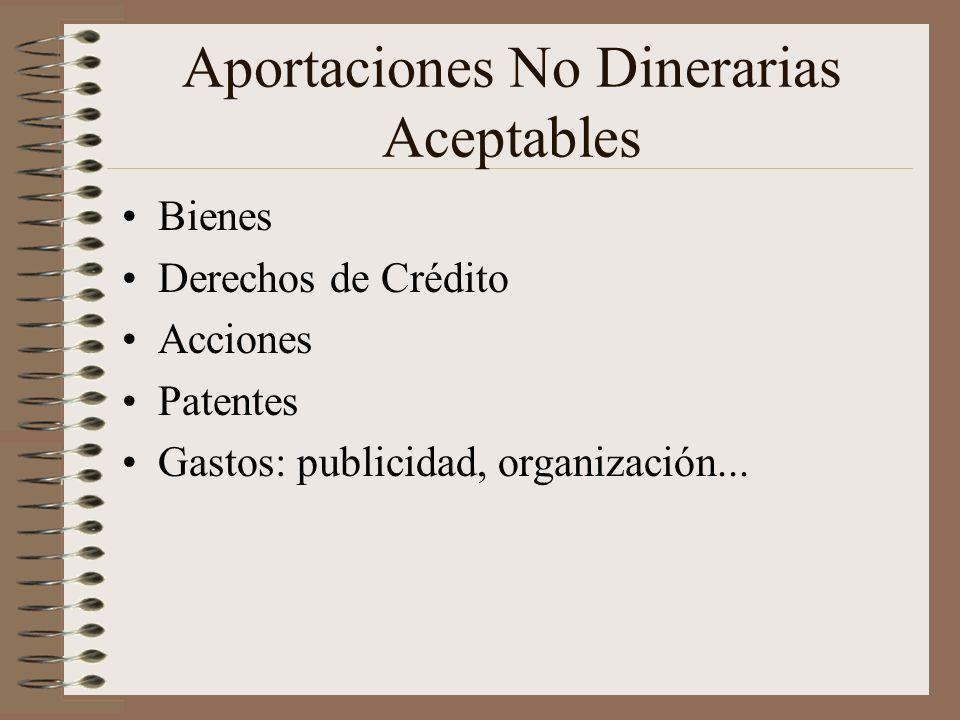 Aportaciones No Dinerarias Aceptables