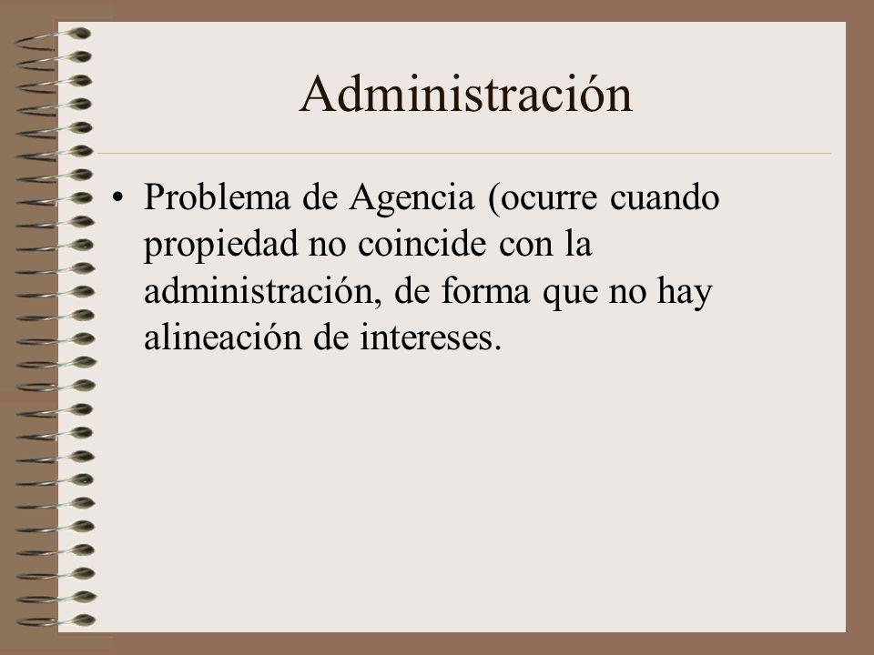 AdministraciónProblema de Agencia (ocurre cuando propiedad no coincide con la administración, de forma que no hay alineación de intereses.
