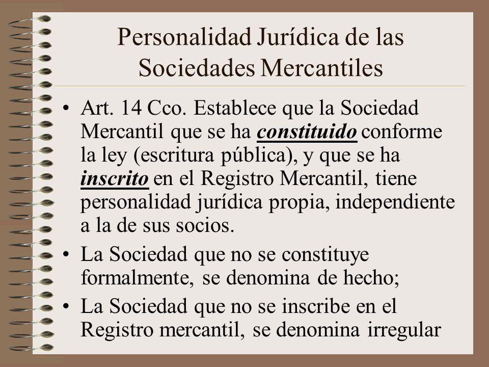 Personalidad Jurídica de las Sociedades Mercantiles
