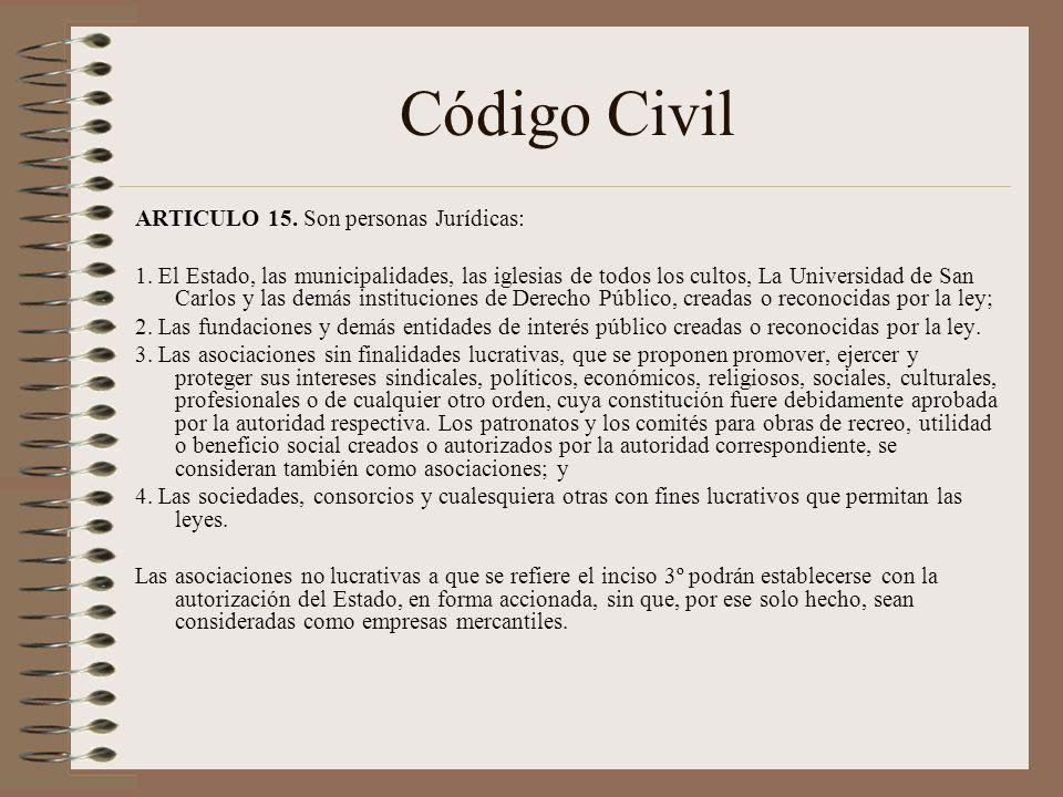 Código Civil ARTICULO 15. Son personas Jurídicas: