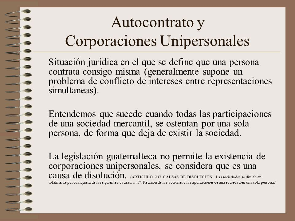 Autocontrato y Corporaciones Unipersonales