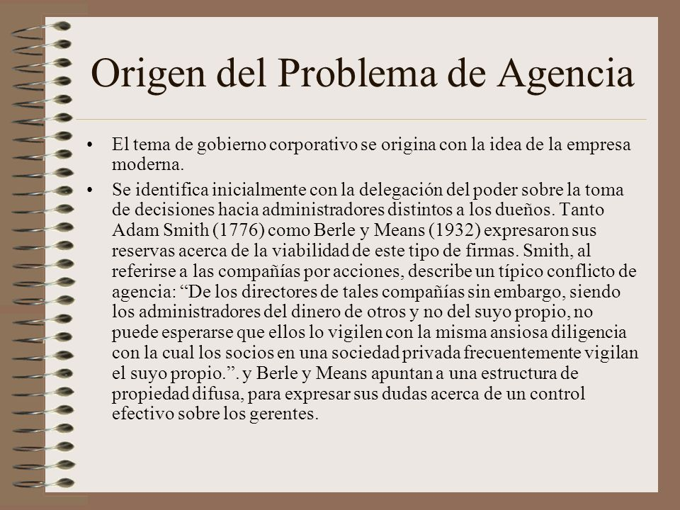 Origen del Problema de Agencia