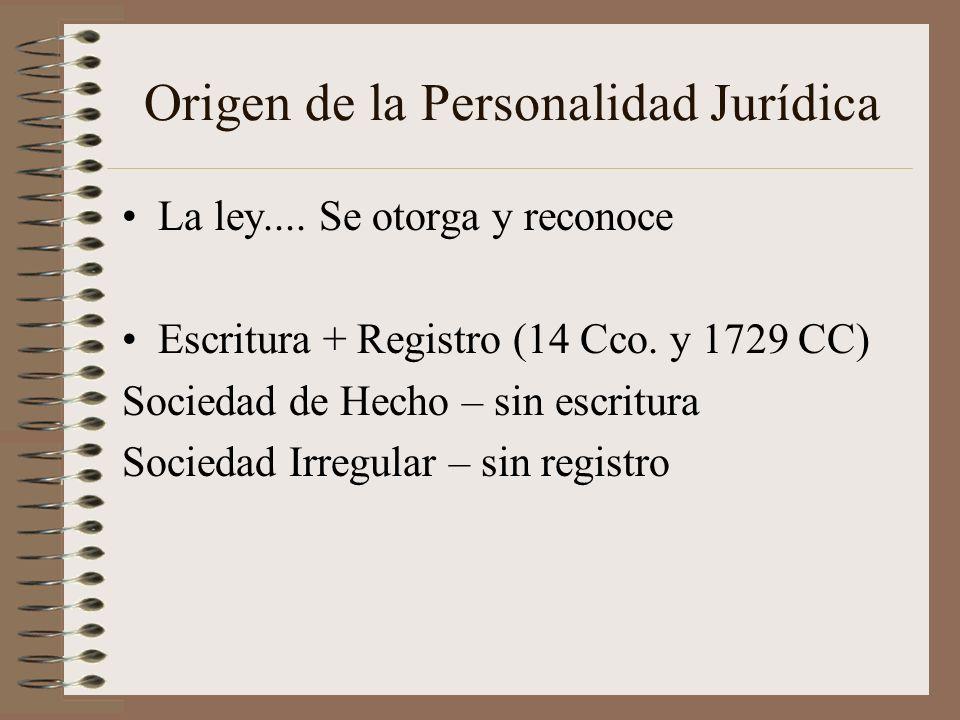 Origen de la Personalidad Jurídica