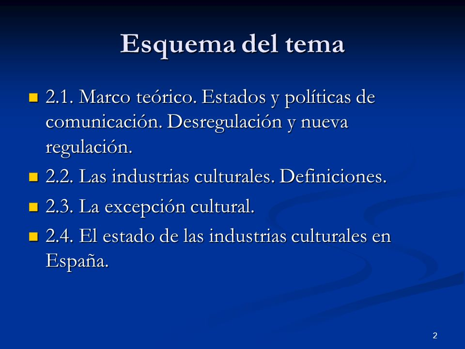 Esquema del tema2.1. Marco teórico. Estados y políticas de comunicación. Desregulación y nueva regulación.