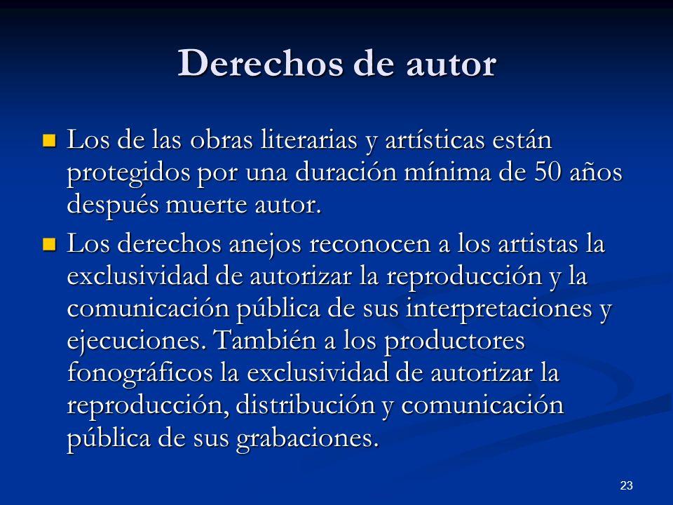 Derechos de autor Los de las obras literarias y artísticas están protegidos por una duración mínima de 50 años después muerte autor.