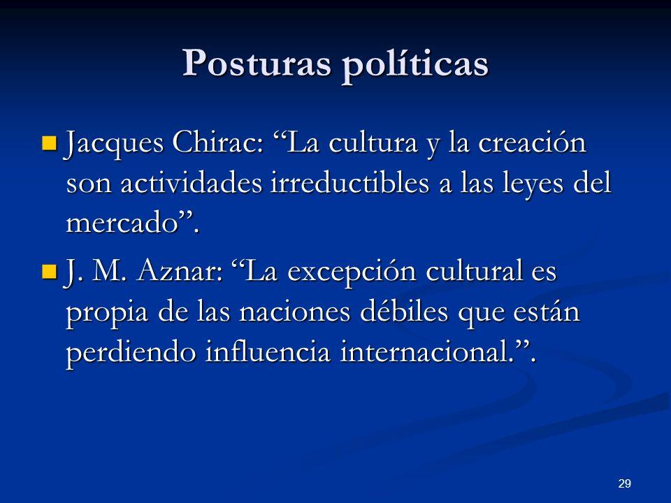 Posturas políticasJacques Chirac: La cultura y la creación son actividades irreductibles a las leyes del mercado .