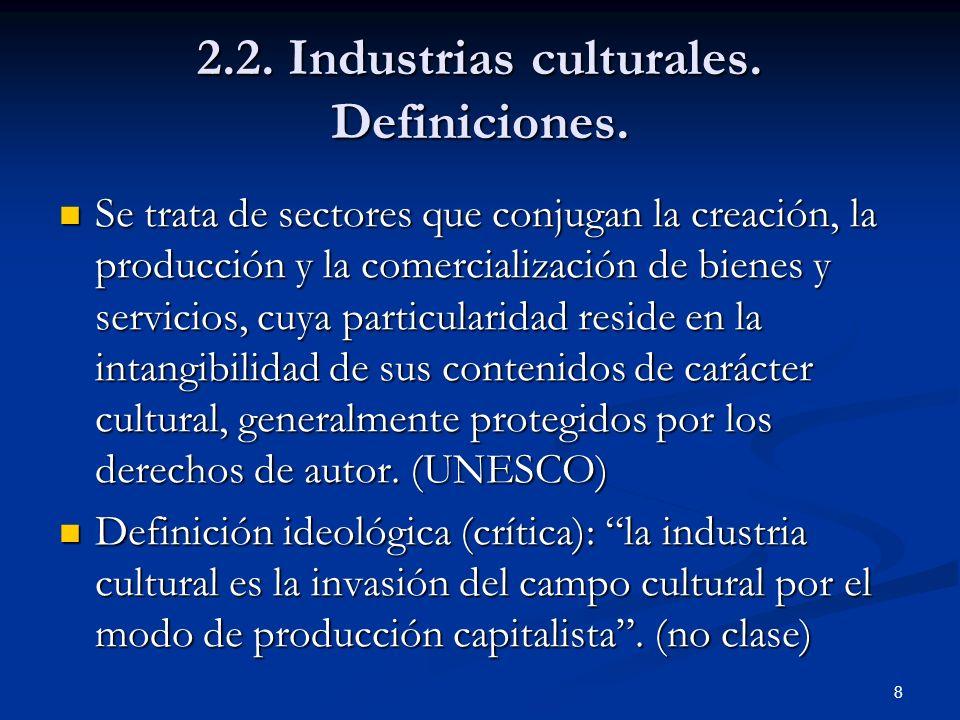 2.2. Industrias culturales. Definiciones.