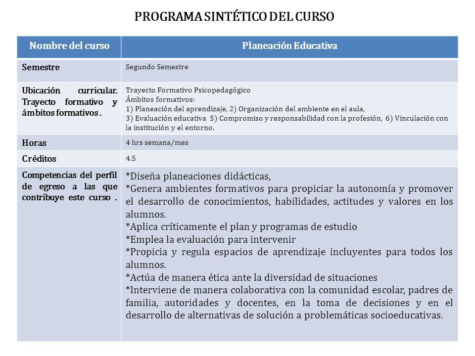 PROGRAMA SINTÉTICO DEL CURSO