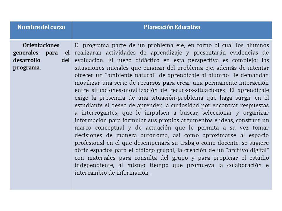 Nombre del curso Planeación Educativa. Orientaciones generales para el desarrollo del programa.