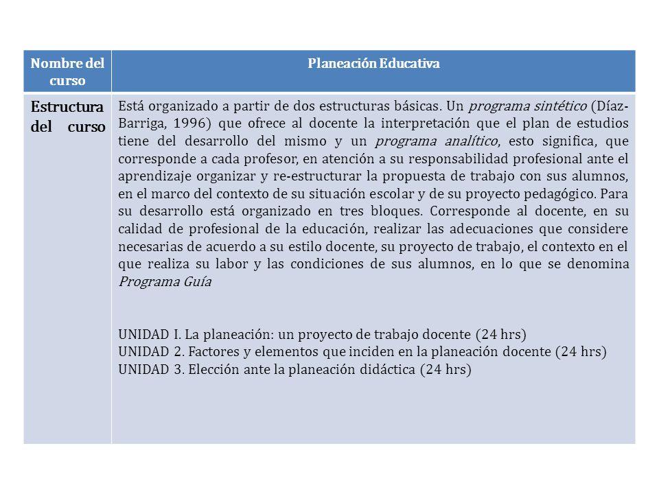 Estructura del curso Nombre del curso Planeación Educativa