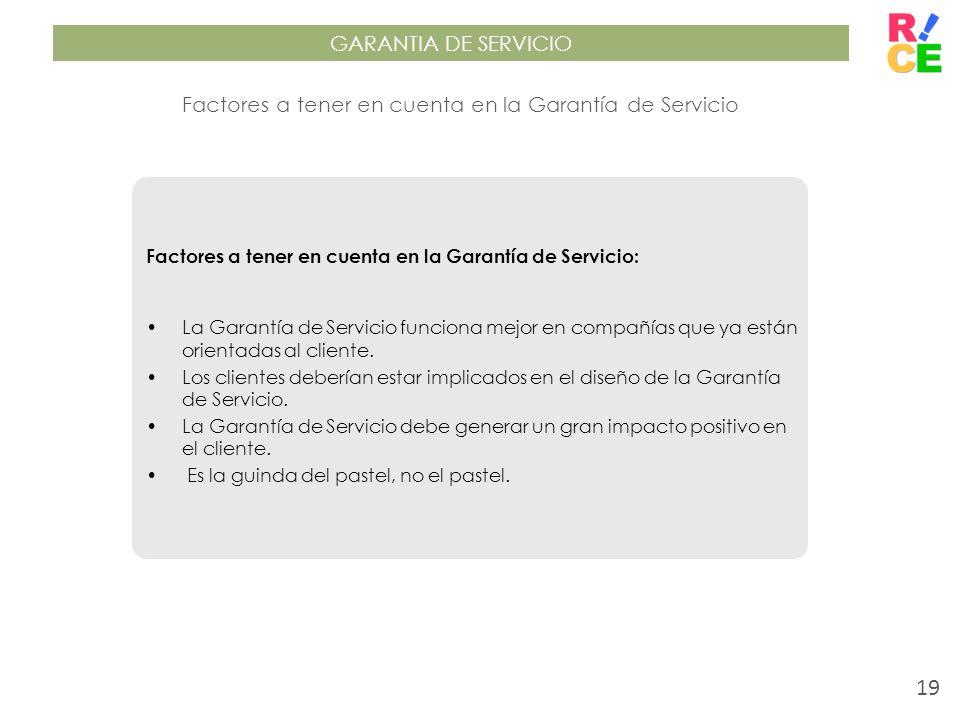Factores a tener en cuenta en la Garantía de Servicio