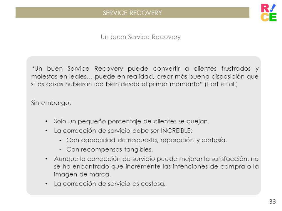 Un buen Service Recovery