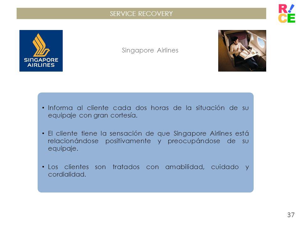 SERVICE RECOVERYSingapore Airlines. Informa al cliente cada dos horas de la situación de su equipaje con gran cortesía.