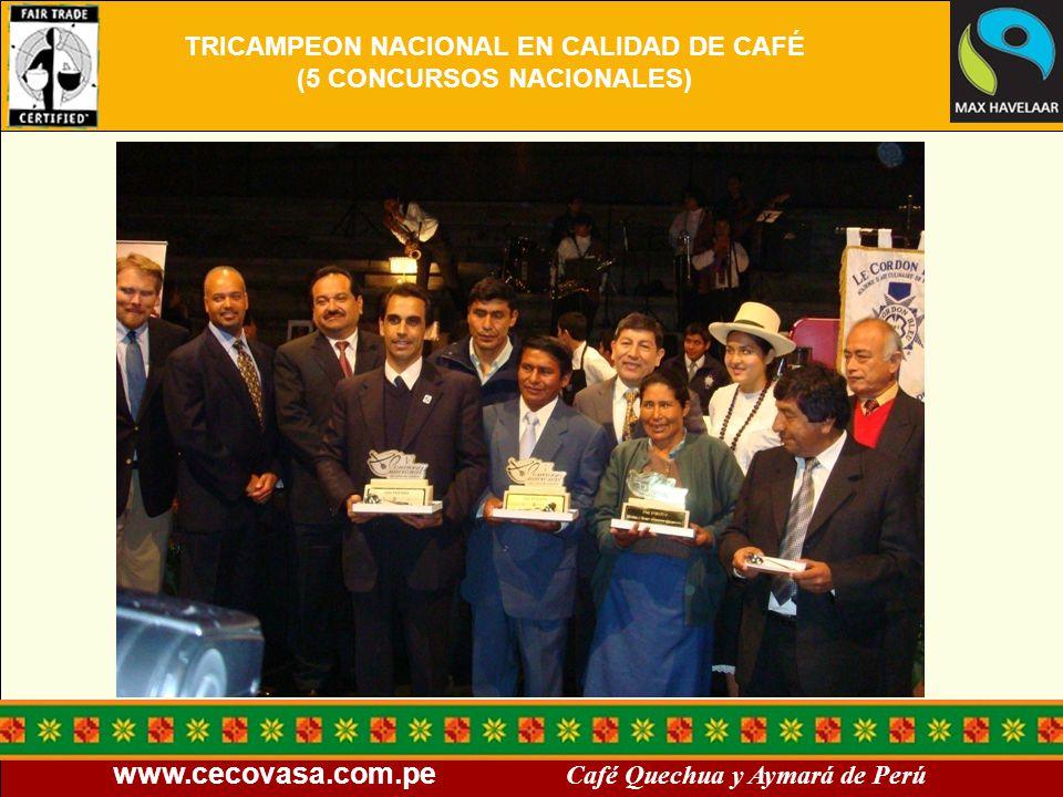 TRICAMPEON NACIONAL EN CALIDAD DE CAFÉ (5 CONCURSOS NACIONALES)
