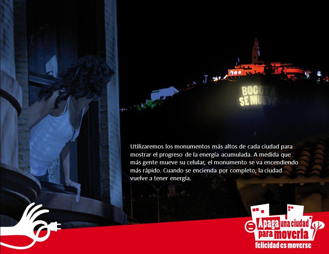 Utilizaremos los monumentos más altos de cada ciudad para mostrar el progreso de la energía acumulada.