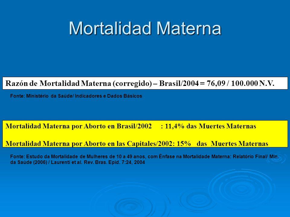 Mortalidad Materna Razón de Mortalidad Materna (corregido) – Brasil/2004 = 76,09 / 100.000 N.V.