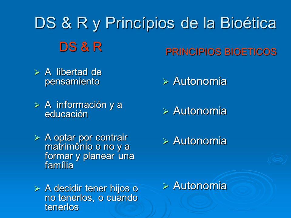 DS & R y Princípios de la Bioética