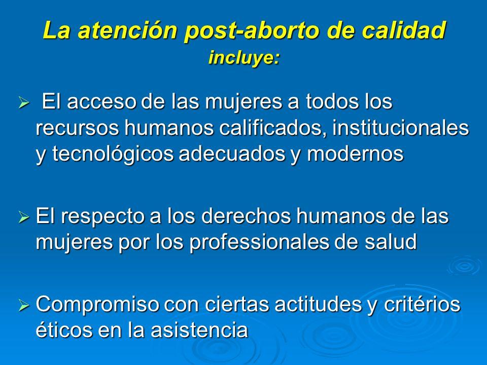 La atención post-aborto de calidad incluye: