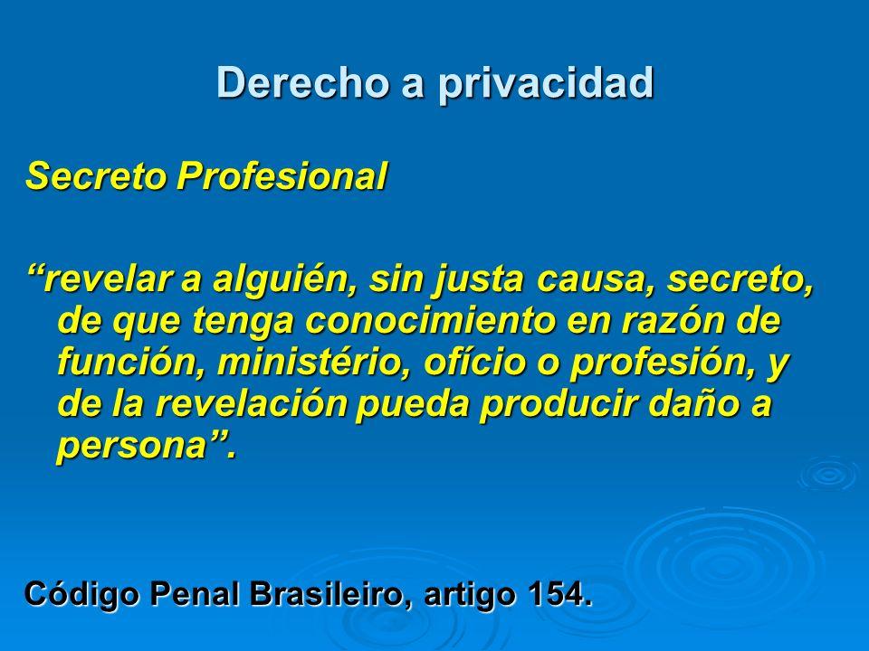 Derecho a privacidad Secreto Profesional