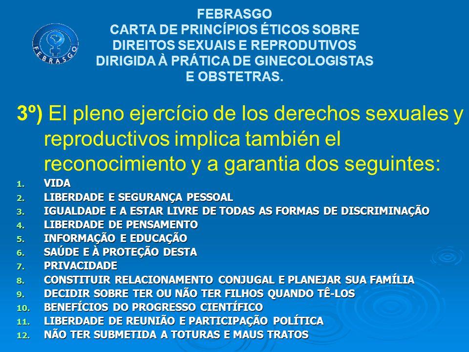 FEBRASGO CARTA DE PRINCÍPIOS ÉTICOS SOBRE DIREITOS SEXUAIS E REPRODUTIVOS DIRIGIDA À PRÁTICA DE GINECOLOGISTAS E OBSTETRAS.
