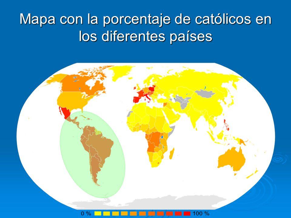 Mapa con la porcentaje de católicos en los diferentes países