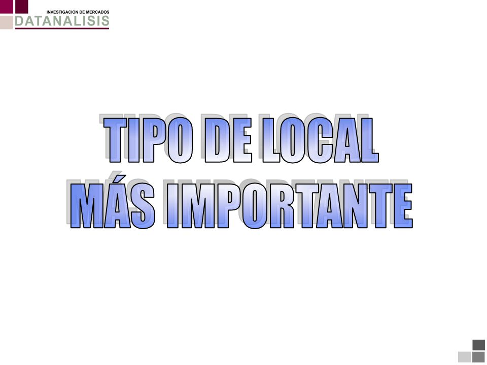 TIPO DE LOCAL MÁS IMPORTANTE