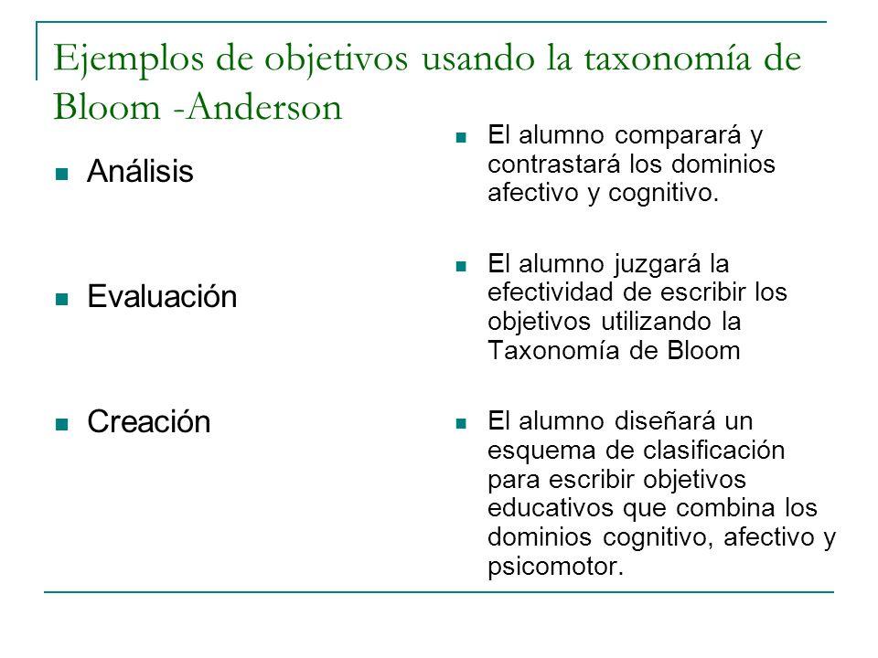 Ejemplos de objetivos usando la taxonomía de Bloom -Anderson