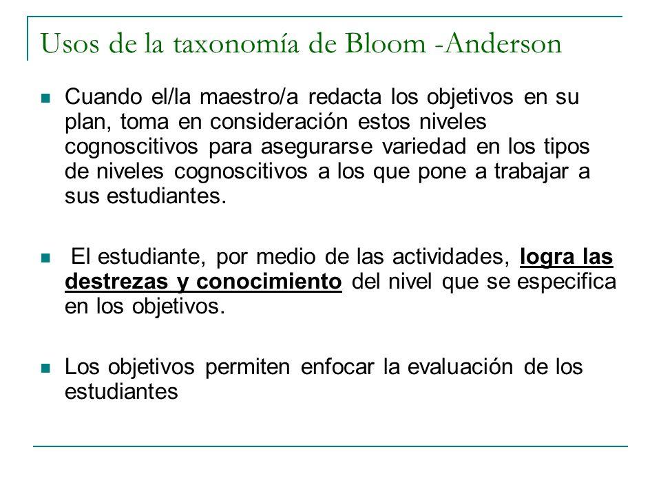 Usos de la taxonomía de Bloom -Anderson