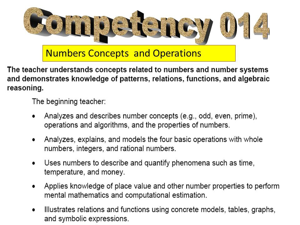 Competency 014 Numbers Concepts and Operations