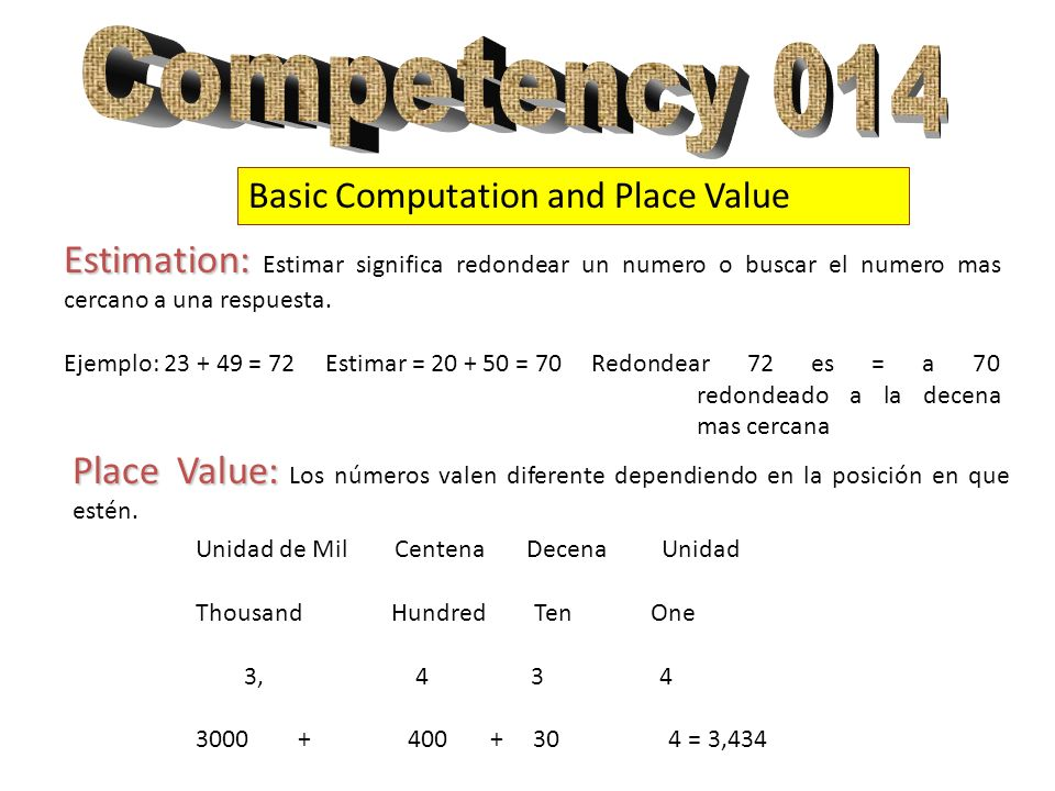 Competency 014 Basic Computation and Place Value. Estimation: Estimar significa redondear un numero o buscar el numero mas cercano a una respuesta.