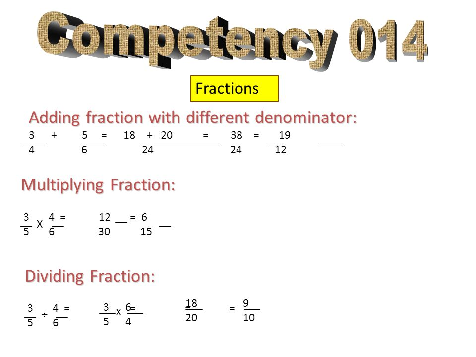 Competency 014 Adding fraction with different denominator:
