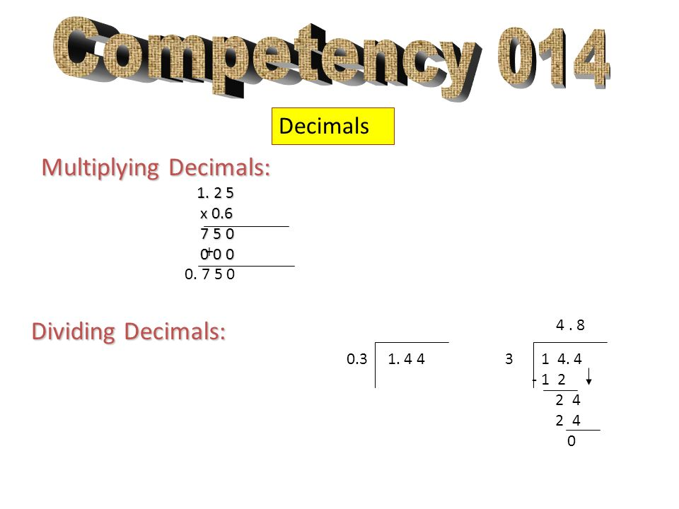 Competency 014 Multiplying Decimals: Dividing Decimals: Decimals