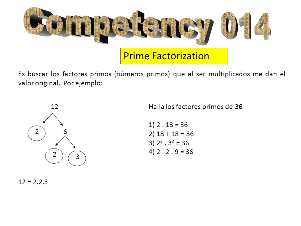 Competency 014 Prime Factorization